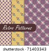 Purple Blossom Retro Patterns - stock vector