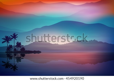 Purple-blue background with sea and palm trees at night. EPS10 vector.