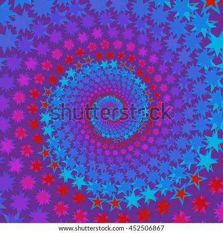 Purple blue spiral with stars geometric background pattern . Fashion modern design. Stylish abstract graphic. Template for prints, decoration. Vector illustration.
