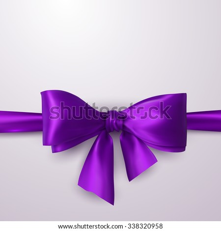 Purple Bow And Ribbon. Vector Holiday Illustration. Decoration Element For Design  - stock vector