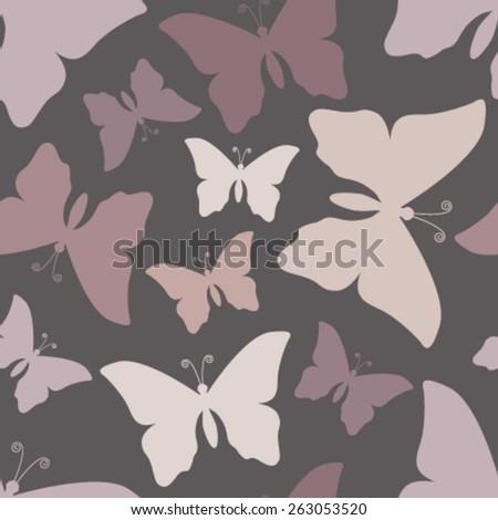 purple butterflies on grey seamless pattern - stock vector