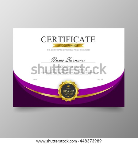 purple certificate template diploma background vector modern value design and luxurious elegant illustration layout cover