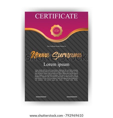 purple certificate template with gold decoration certificate with modern pattern background diploma vector