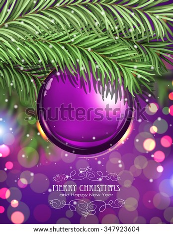 Purple Christmas ball and fir tree branches on a sparkling  holiday background. Festive Christmas background - stock vector