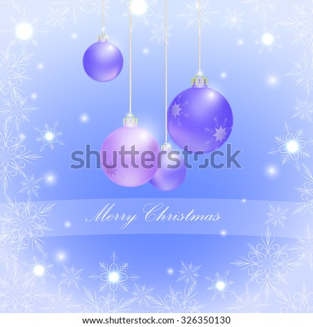 purple Christmas balls and snowflakes, glitter, vector - stock vector