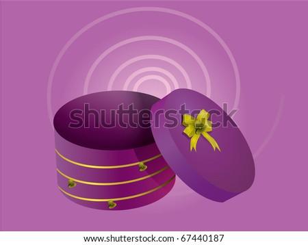 Purple Christmas gift box - stock vector