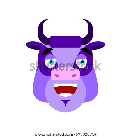 Purple Cow happy Emoji. Bull Head merry emotion