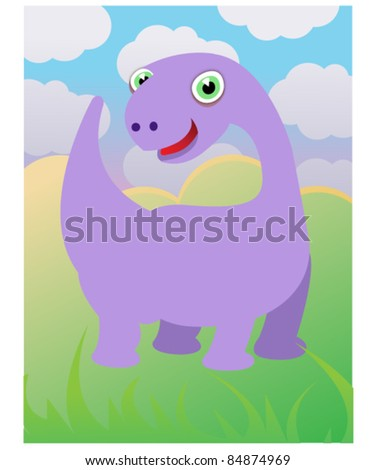 Purple Dinosaur Illustration - Vector - stock vector