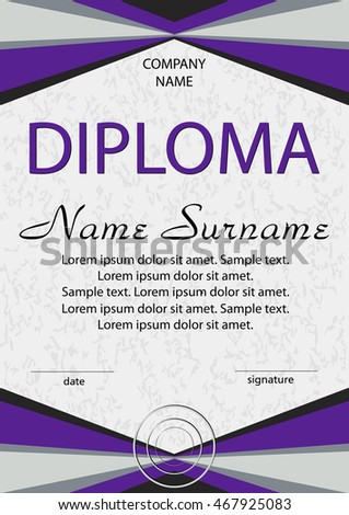 Purple diploma certificate winning competition reward stock vector purple diploma certificate winning the competition reward award winner vertical template yelopaper Choice Image