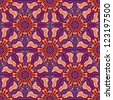 Purple Ethnic Seamless Pattern  with Oriental Kaleidoscopic Ornament - stock vector