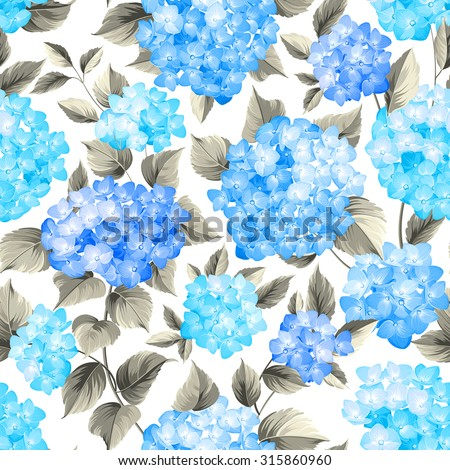 Purple flower hydrangea on seamless background. Mop head hydrangea flower pattern. Beautiful blue flowers. Vector illustration. - stock vector