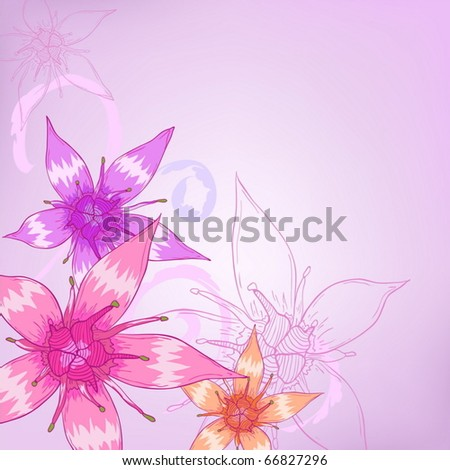 Purple flowers with vector ornament designs for greeting cards