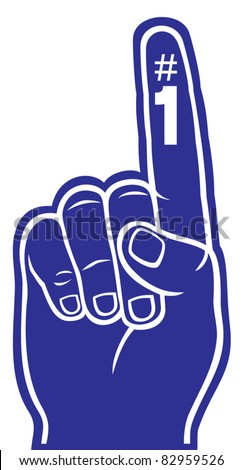 purple foam finger - stock vector