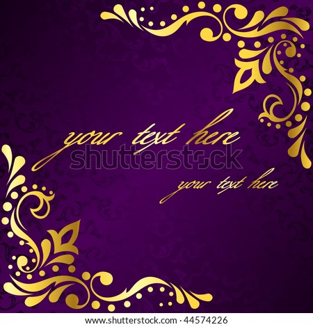 Purple frame with gold sari inspired filigree (EPS10); JPG version also available - stock vector