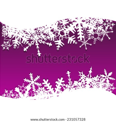 purple frame with snowflakes. Vector  - stock vector