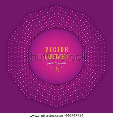 Purple fuschia violet abstract background. Geometric shapes, Decagon design, Abstract light halftone. Text place, all the elements are isolated and can be easily edited, Vector illustration - stock vector