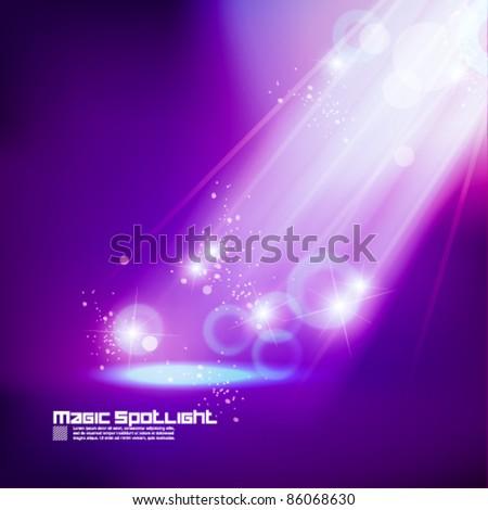 purple golden spotlight effect vector background design - stock vector