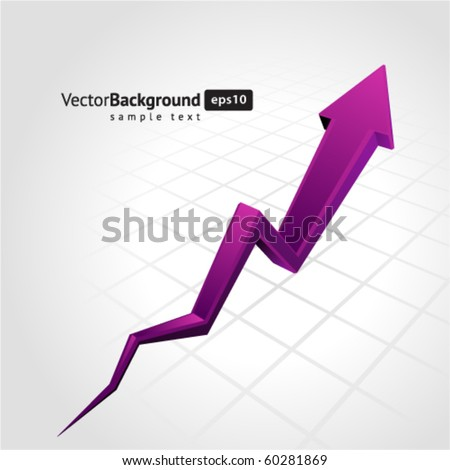 Purple graph arrow move up vector background - stock vector