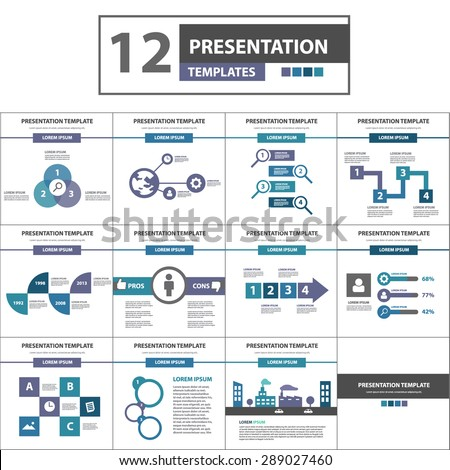 purple green blue multipurpose presentation powerpoint stock, Modern powerpoint