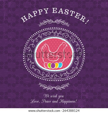 Purple greetings card for Easter Day with roundet frames  with easter  eggs and hen. There inscription Happy Easter. Decorative composition suitable for invitations, greeting  cards, flyers, banners. - stock vector