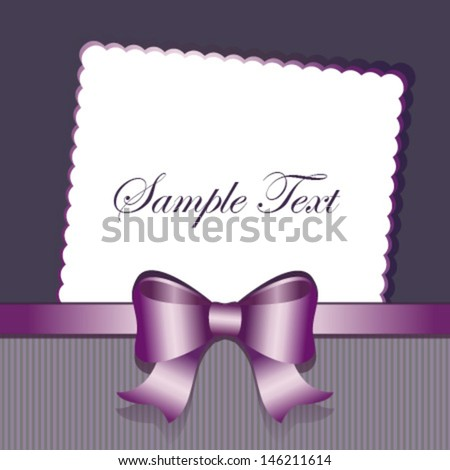 purple grey bow card - stock vector
