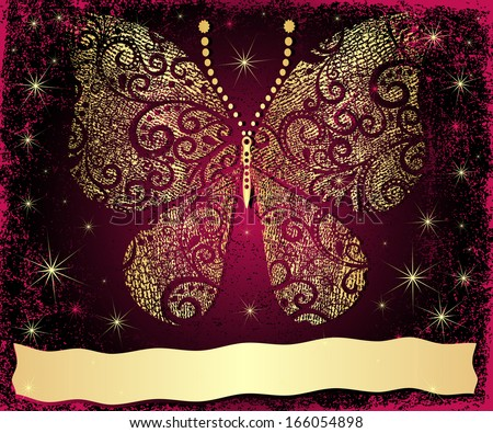 Purple grungy Christmas frame with gold grungy butterfly and gold wave strip (vector) - stock vector