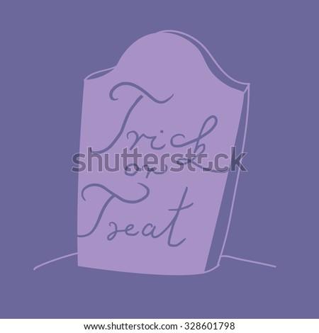 purple halloween gravestone illustration with trick or treat hand written sign - stock vector