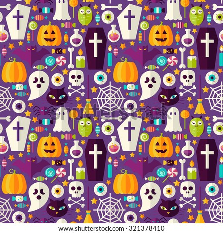Purple Halloween Party Seamless Pattern. Flat Style Vector Seamless Texture Background. Halloween Holiday Template. Trick or Treat - stock vector