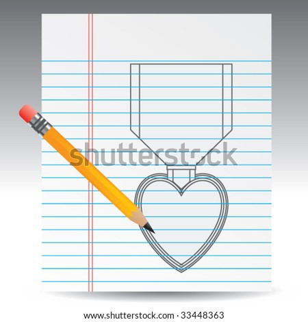 purple heart medal drawn on notebook paper with pencil - stock vector