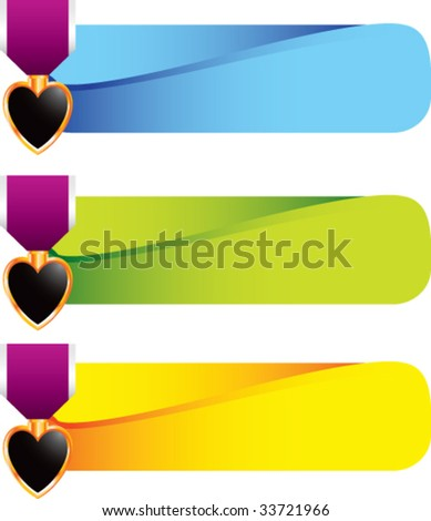 purple heart medal icon on bold advertisement banner - stock vector