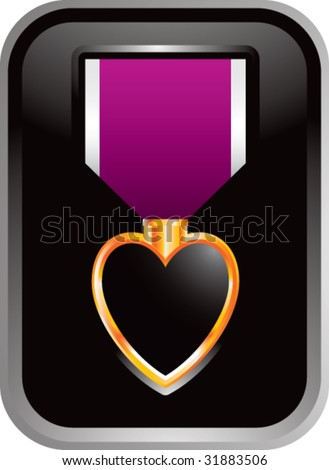 purple heart medal in silver frame - stock vector