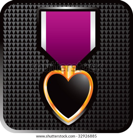 purple heart medal on black web button - stock vector