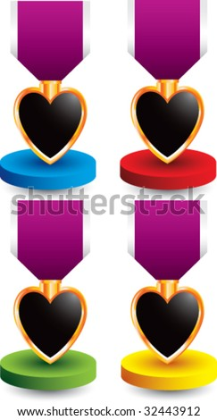 purple heart medal on colored display - stock vector
