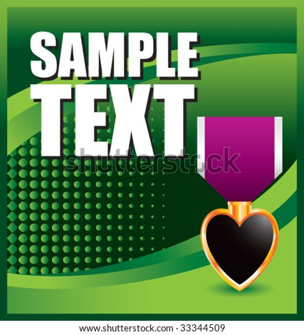 purple heart medal on green halftone banner - stock vector