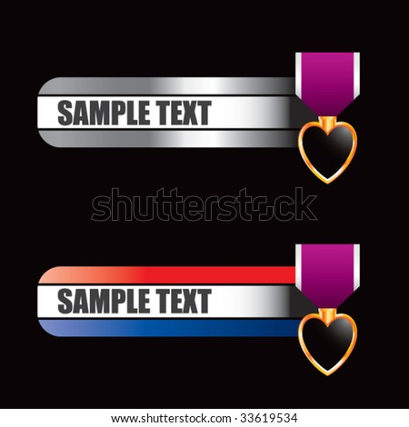 purple heart medal on specialized banners - stock vector