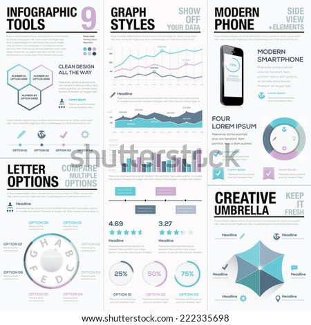 Purple infographics. Business vector elements, bars and graphs. - stock vector