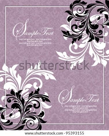 purple invitation card,vector design - stock vector