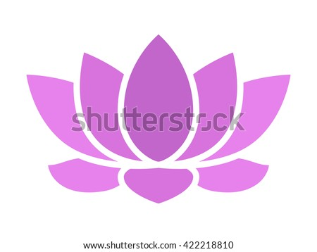 Purple lotus flower blossom flat icon for apps and websites - stock vector