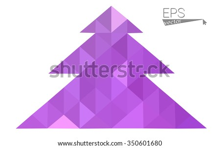 Purple low polygon style christmas tree vector illustration consisting of triangles . Abstract triangular polygonal origami or crystal design of New Years celebration. Isolated on white background. - stock vector