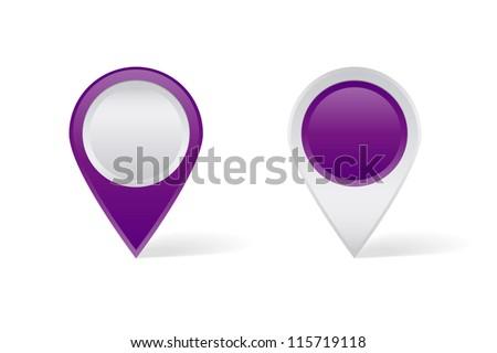 Purple map pins - stock vector