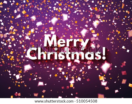 Purple Merry Christmas celebration  banner or greeting card with flying golden and white confetti, some are out of focus