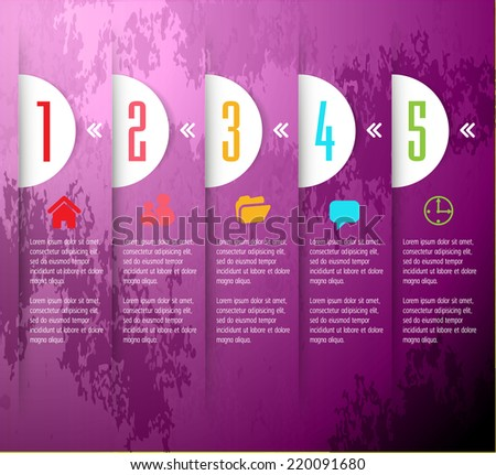 Purple modern design old paper text box template for website graphic technology and internet , labels, numbers.  - stock vector