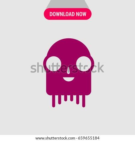 Purple Monster Vector Icon Smiling Monster Stock Vector 659655184