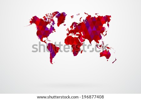 Purple Mosaic Tiles World Map Vector Abstract - stock vector