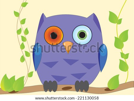 purple owl with different eye  - stock vector