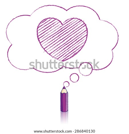 Purple Pencil with Reflection Drawing Heart Icon in Fluffy Cloud Shaped Think Bubble on White Background - stock vector