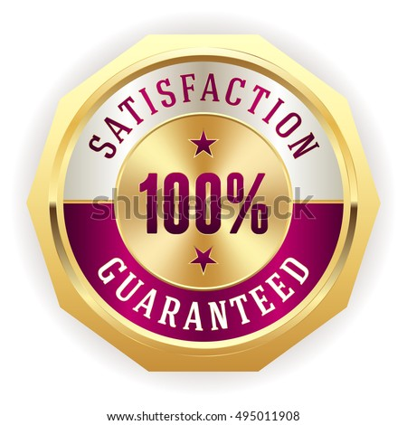 Purple 100 percent satisfaction badge with gold border on white background