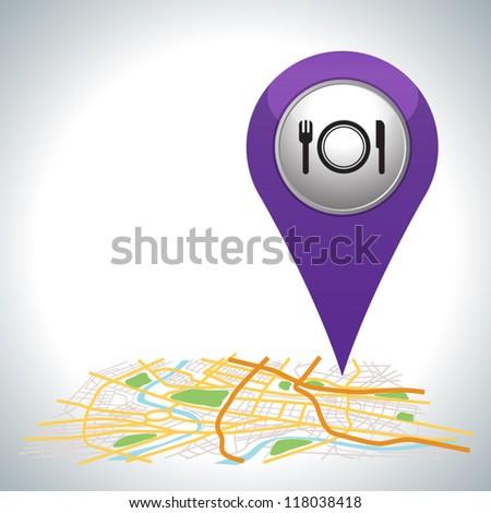 purple restaurant pointer on map location. - stock vector