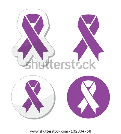 Purple ribbon - pancreatic cancer, testicular cancer, domestic violence awereness symbol - stock vector