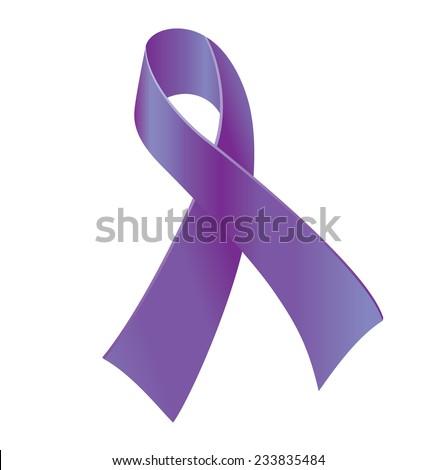 Purple ribbon - symbol of general cancer awareness, drug overdose, domestic violence, Alzheimer disease. - stock vector